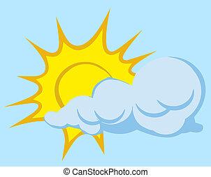 soleil, derrière, nuage