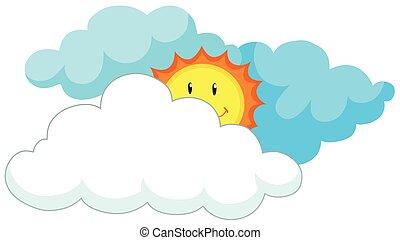 soleil, derrière, nuages, heureux