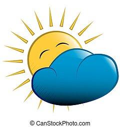 soleil, derrière, vecteur, illustration., nuage