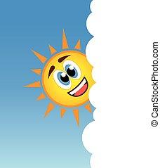 soleil, derrière, vecteur, sourire, nuage, heureux