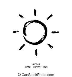 soleil, dessiné, main a fait, brush.