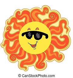 soleil, dessin animé, bouclé