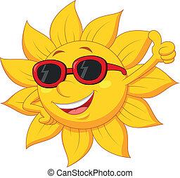 soleil, dessin animé, caractère, à, pouce haut