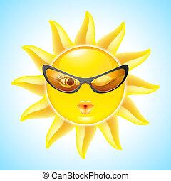 soleil, dessin animé, caractères