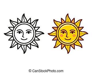 soleil, dessin animé, figure