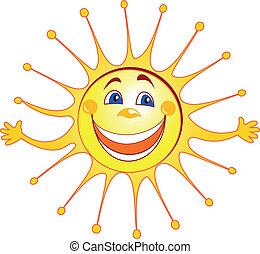 soleil, dessin animé, heureux
