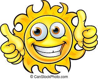 soleil, dessin animé, mascotte