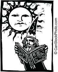 soleil, dessous, magicien, figure