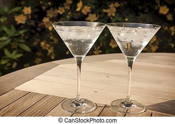 soleil, deux, lunettes, martini