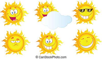 soleil, différent, dessin animé