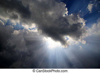 soleil, dramatique, ciel, rayons