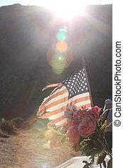 soleil, drapeau américain, fond