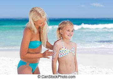 soleil, elle, crème, demande, mère, fille, dos