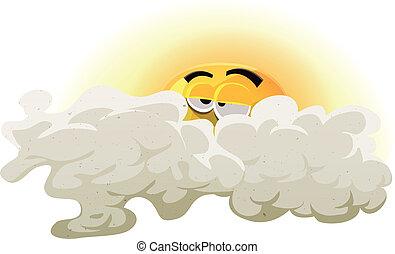 soleil, endormi, dessin animé, caractère