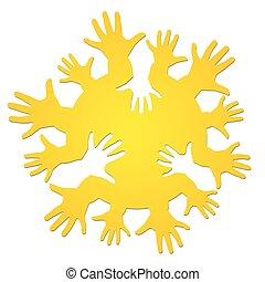 soleil, enfants, hands.
