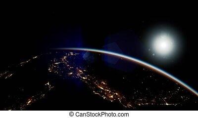 soleil, espace, terre planète, nuit