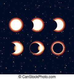 soleil, et, éclipse solaire, phases, vecteur, clipa