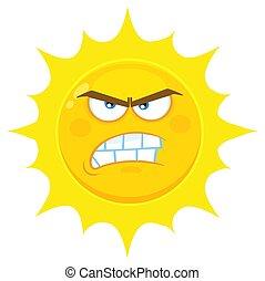 soleil, fâché, caractère, type caractère jaune, expressions...