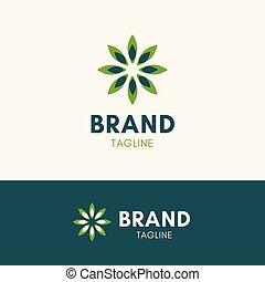 soleil, feuille, harmonie, logo