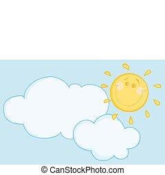soleil, flotter, heureux, nuage, sous