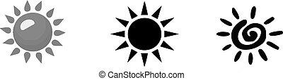 soleil, fond blanc, icône