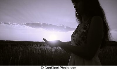 soleil, froid, femme, tient, main