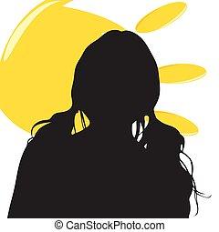 soleil, girl, silhouette, illustration
