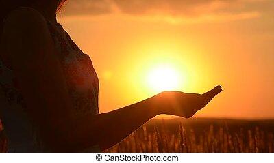soleil, girl, tient, main