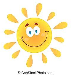 soleil, heureux, caractère, mascotte