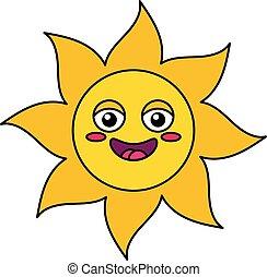 soleil, heureux, contour, illustration, emoji
