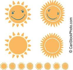 soleil, heureux, mignon, figure, sourire, dessin animé, main, dessiné