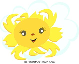 soleil, heureux, nuage, figure