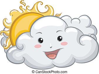 soleil, heureux, nuage, mascotte