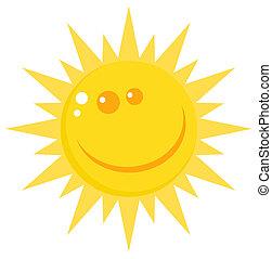 soleil, heureux, sourire, figure