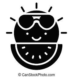 soleil, icône, été, apparenté, pastèque, vente, vecteur