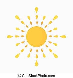 soleil, icône, conception, plat