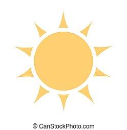 soleil, icône, desing, plat