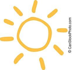 soleil, icône, dessiné, main