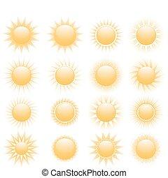 soleil, icône, ensemble
