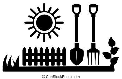 soleil, icône, outils jardinage, noir