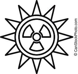 soleil, icône, style, contour, radiation