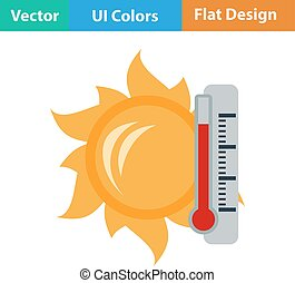 soleil, icône, thermomètre