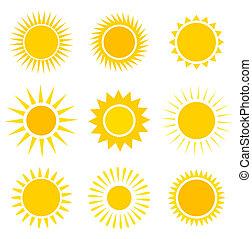 soleil, icônes, ensemble
