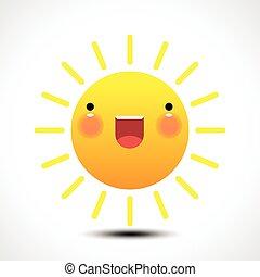 soleil, icon., sourire, été, heureux