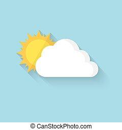 soleil, illustration, derrière, vecteur, cloud., dissimulation