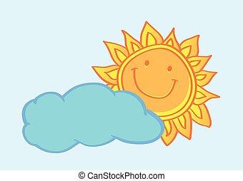 soleil, illustration, derrière, vecteur, dessin animé, nuage, heureux