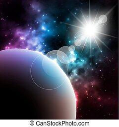 soleil, illustration, planète, vecteur, fond, photorealistic, galaxie, briller