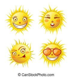 soleil, isolé, jaune, affiche quatre, sourire, blanc