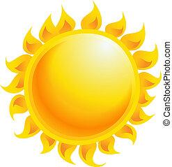 soleil, isolé, jaune, vecteur, fond, blanc, dessin animé, briller
