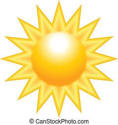 soleil, jaune, brûlé